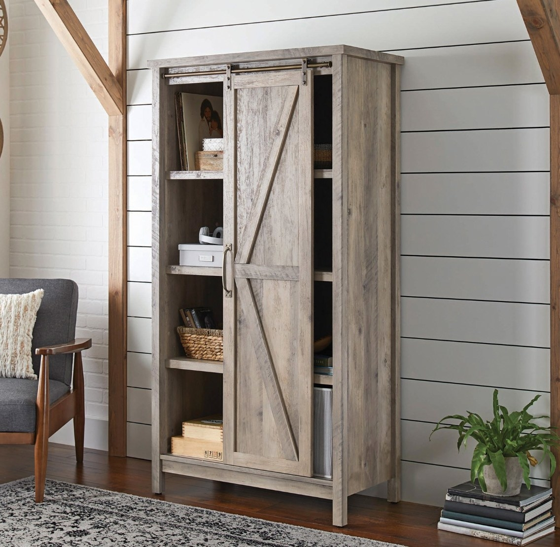 The bookcase storage cabinet in rustic gray