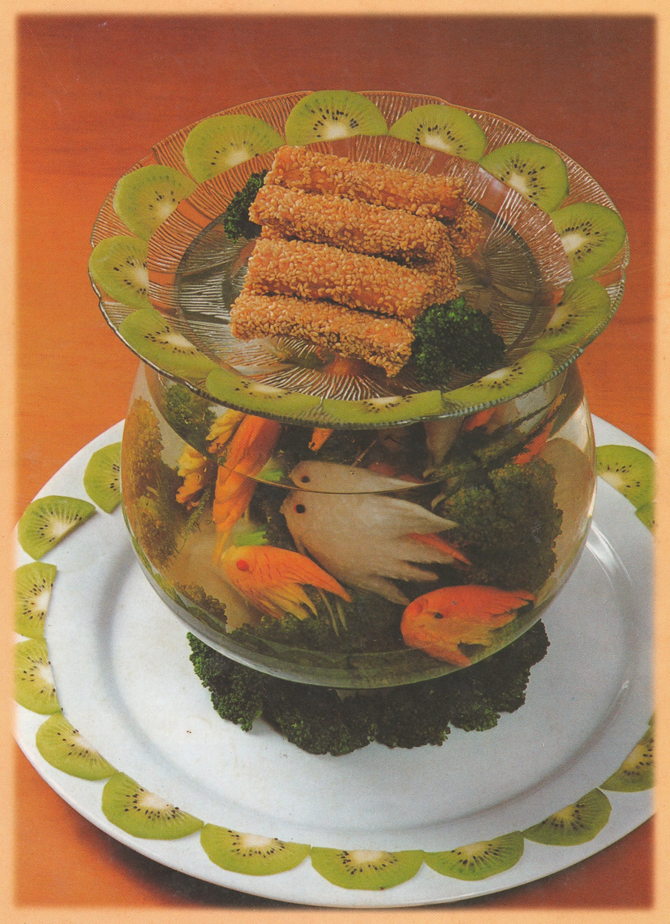 A fishbowl made of fruit and rolls
