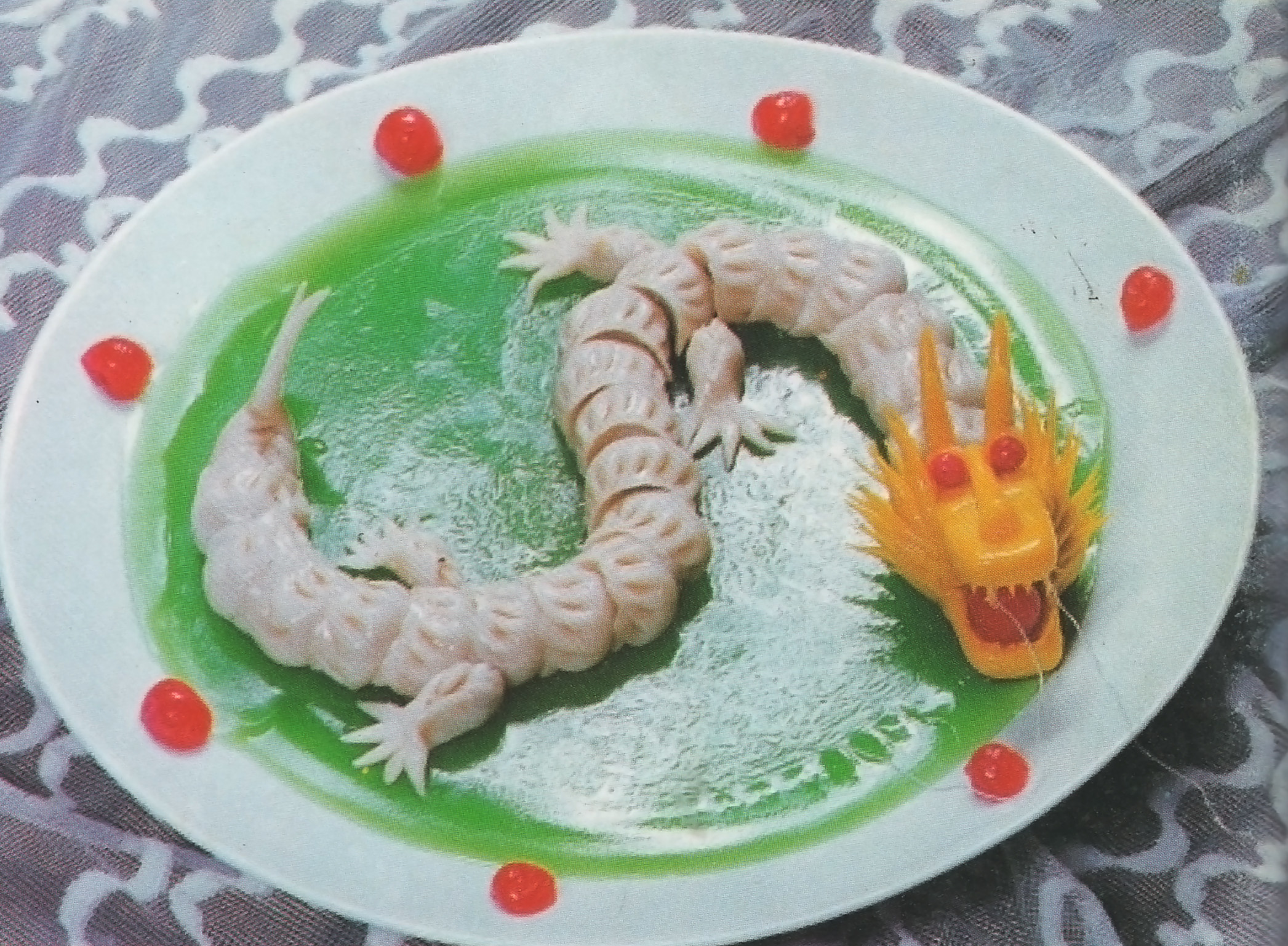 A dragon made of dumplings and fruit