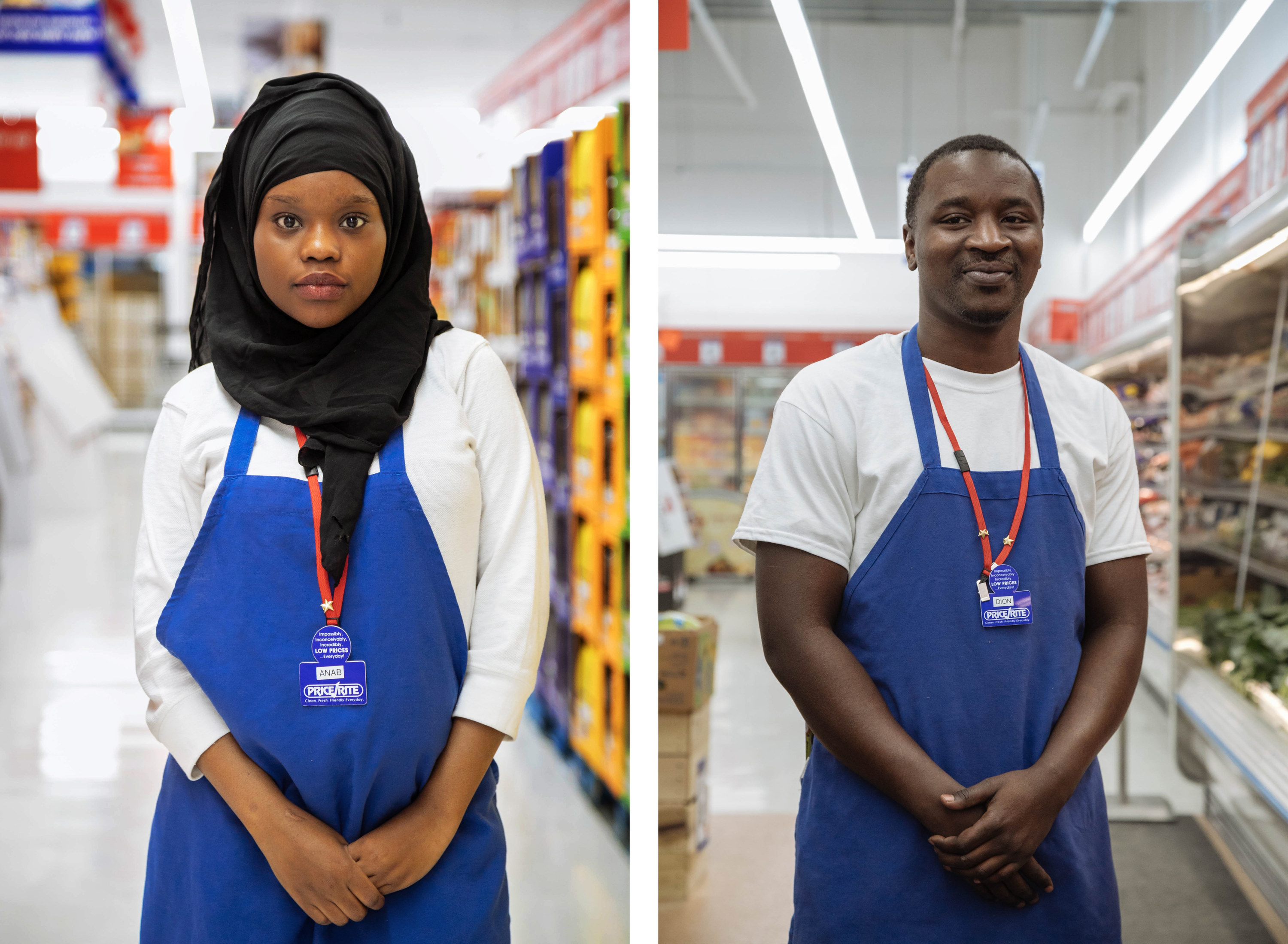 A split image of a woman in a hijab in a Price Rite apron, and a man on the right in a Price Rite apron