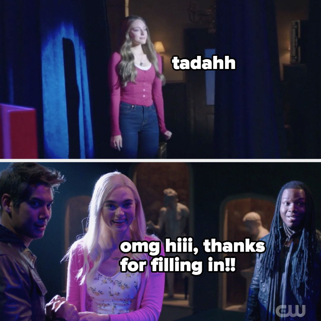 """Hope appears as Elena: """"tadahhh"""" Lizzie: """"omg hi thanks for filling in!"""""""