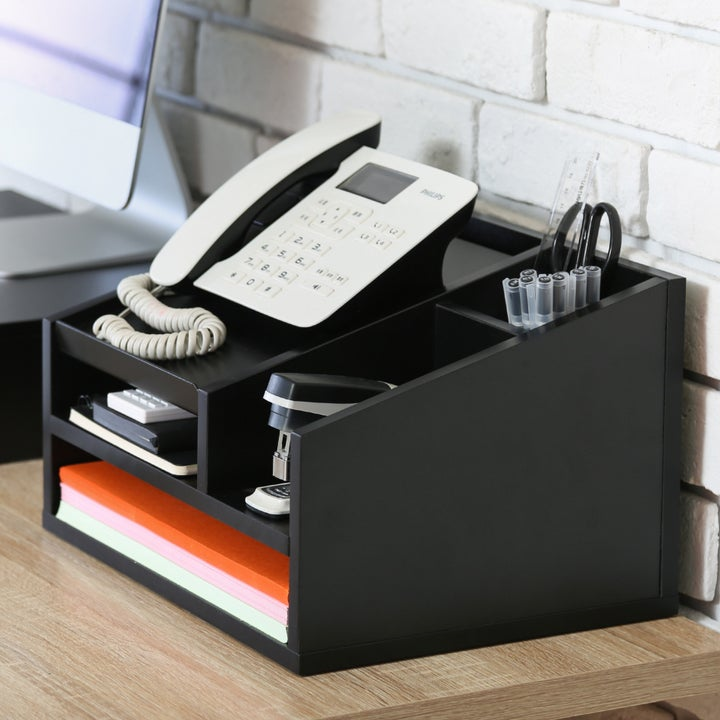 the desk supply organizer in use