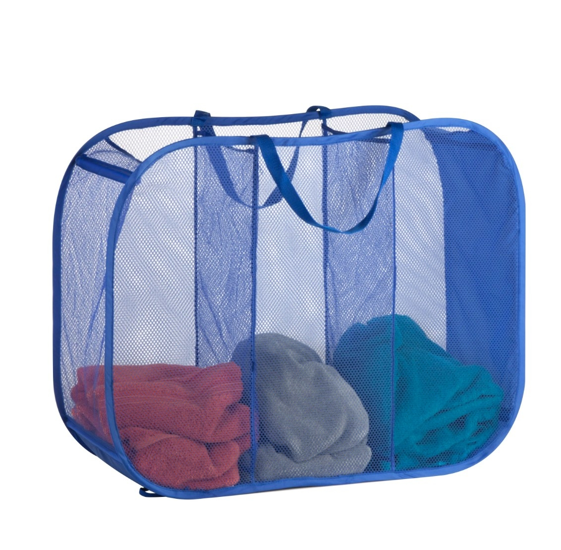 The triple sorter mesh laundry basket in blue