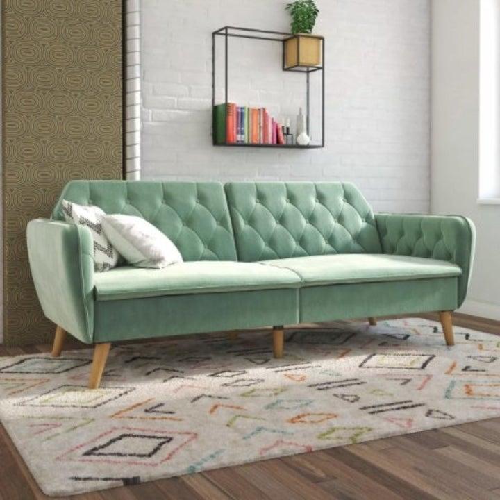 The memory foam futon in the color light green