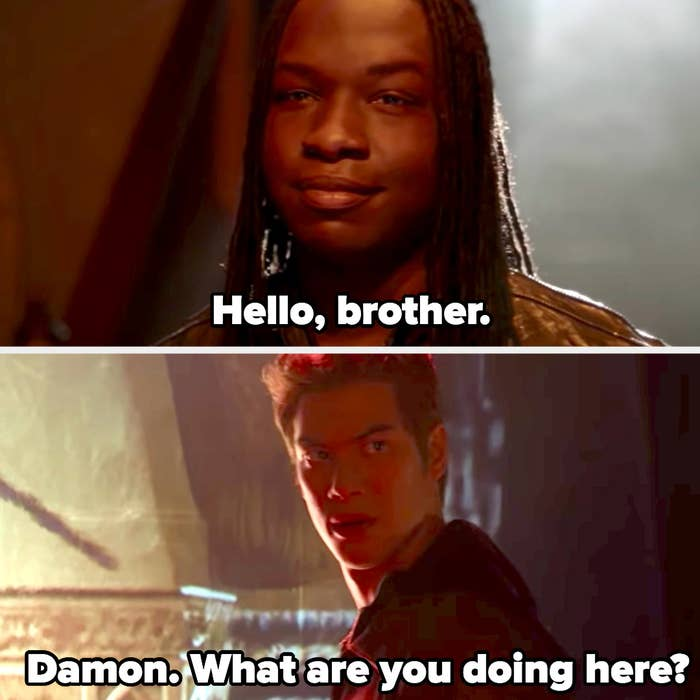 """Kaleb as Damon says """"Hello brother"""" and Jed as Stefan asks what he's doing there"""