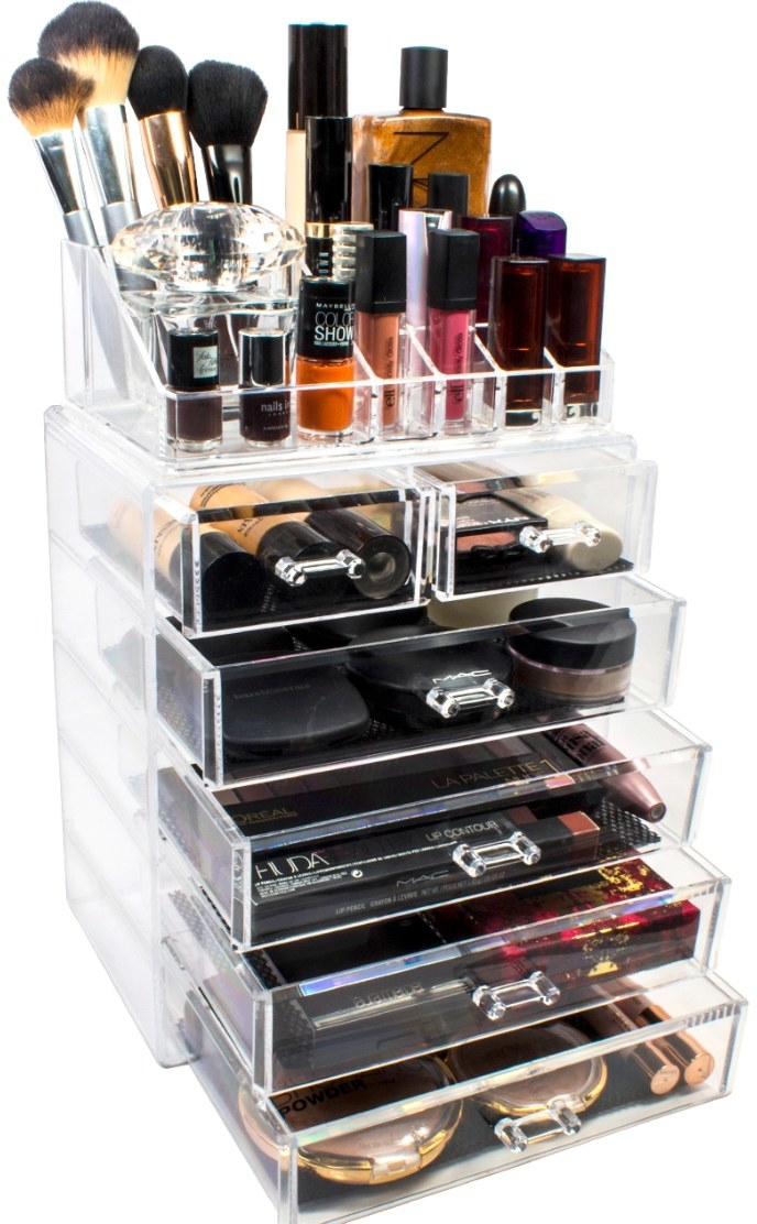 The plastic makeup organizer in clear