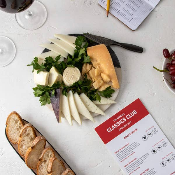 A selection of cheeses from November 2019 with a tasting card