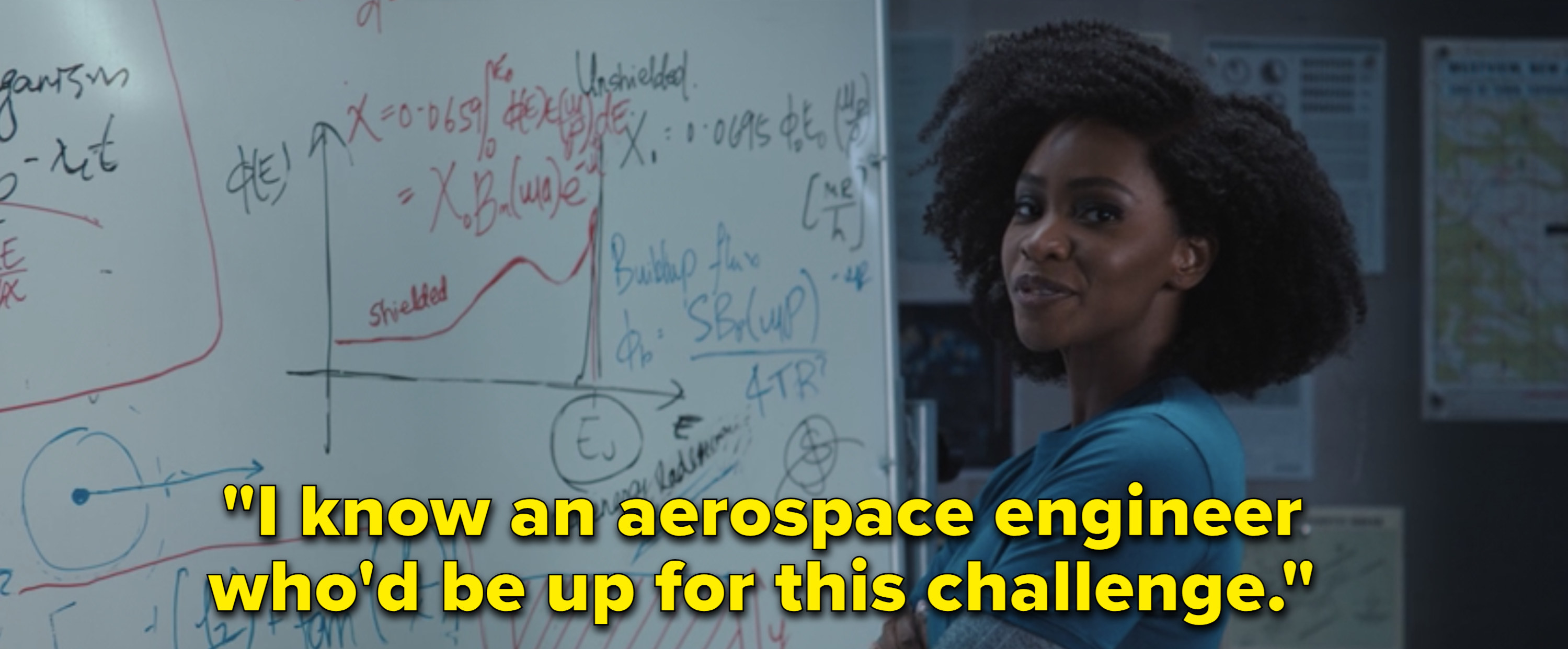 "Monica saying, ""I know an aerospace engineer who'd be up for this challenge"""