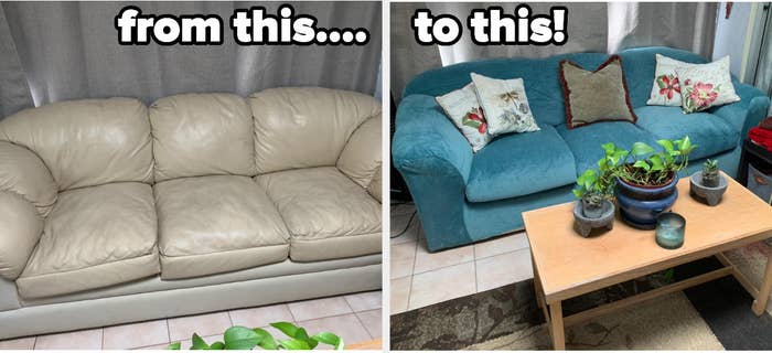 reviewer before and after images of a dingy beige leather couch that is then covered with a teal velvet slip cover