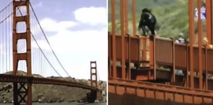 "Stills of the Golden Gate Bridge from the documentary ""The Bridge"""