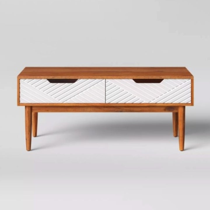 White and brown coffee table with two drawers