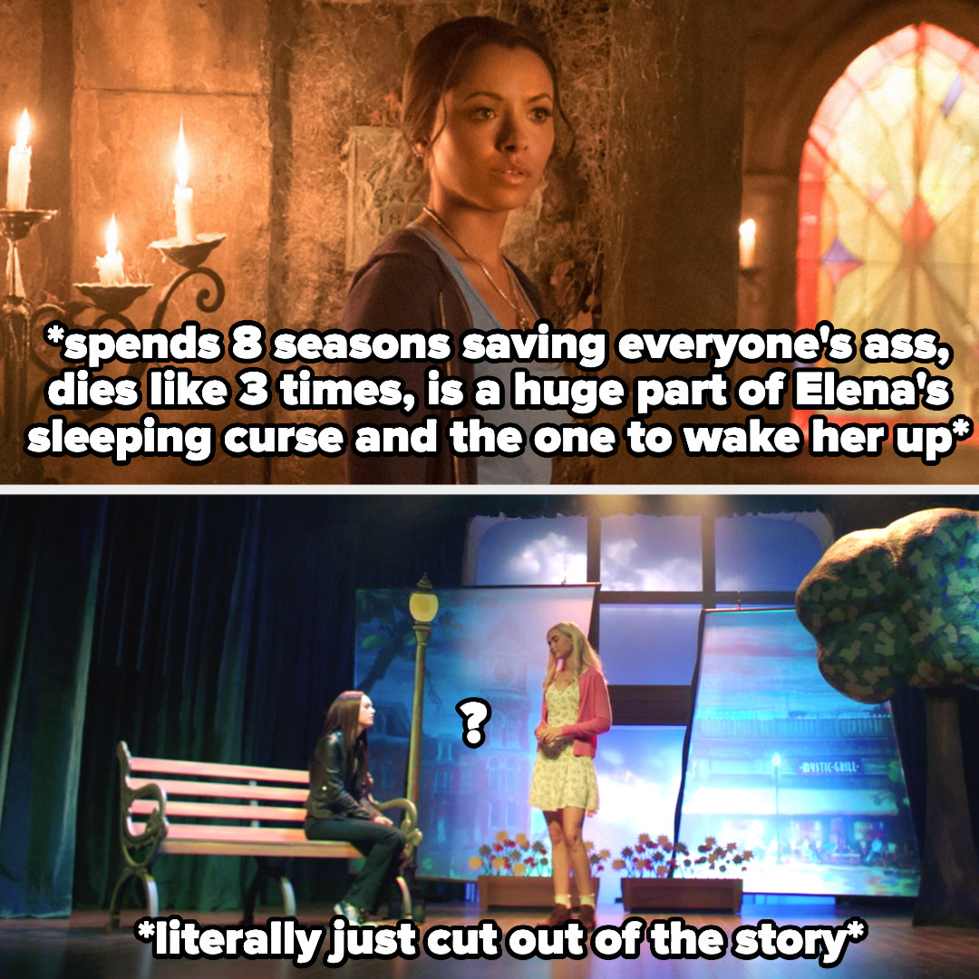 picture of Bonnie describing that she spent 8 season saving everyone and was a huge part of the sleeping curse, then a picture of Elena and Caroline in the musical with Bonnie cut out