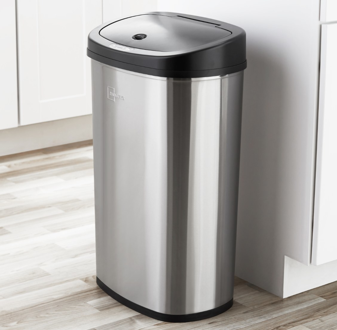 The motion sensor trash can in stainless steel