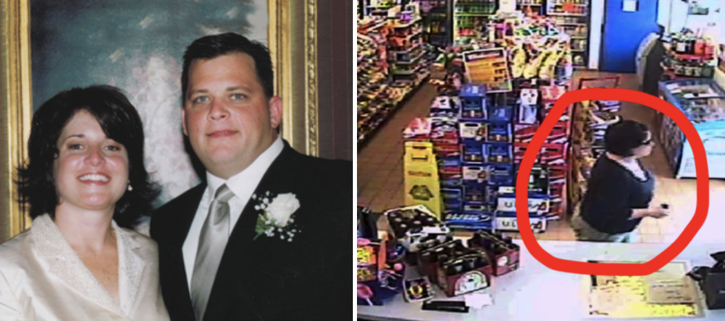 A side-by-side of Diane and her husband and Diane in the gas station