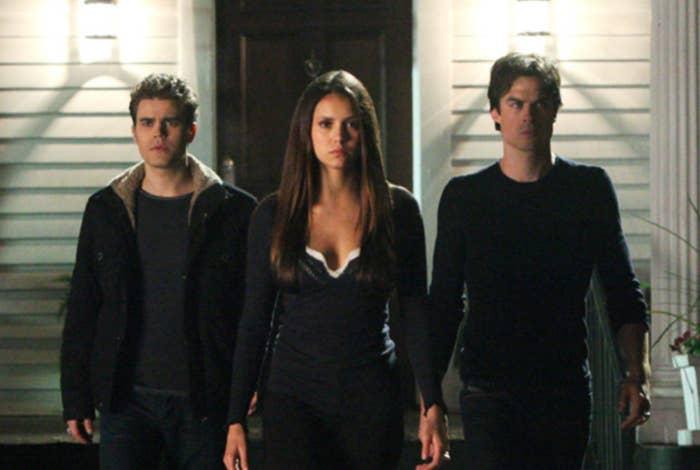 Damon, Elena, and Stefan on The Vampire Diaries