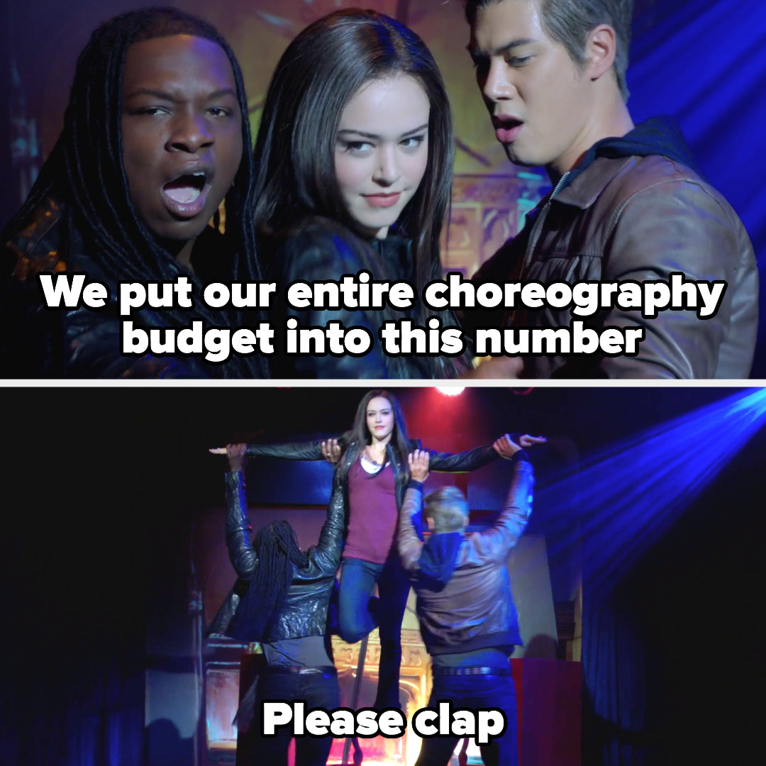 """Josie Kaleb and Jed as Elena Damon and Stefan dancing with the caption """"we put our entire choreography budget into this number, please clap"""""""