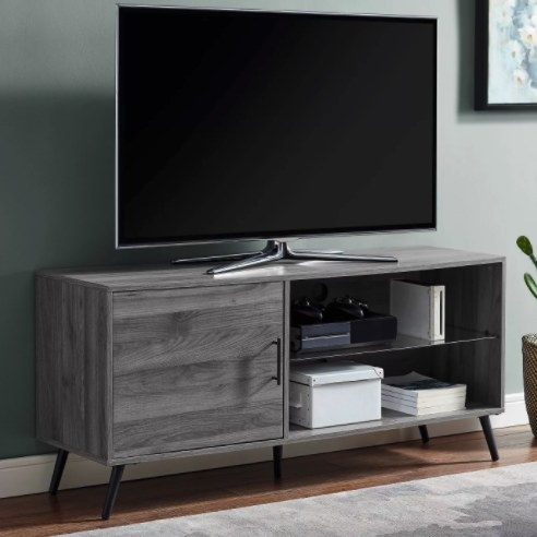 The TV stand in the color slate gray