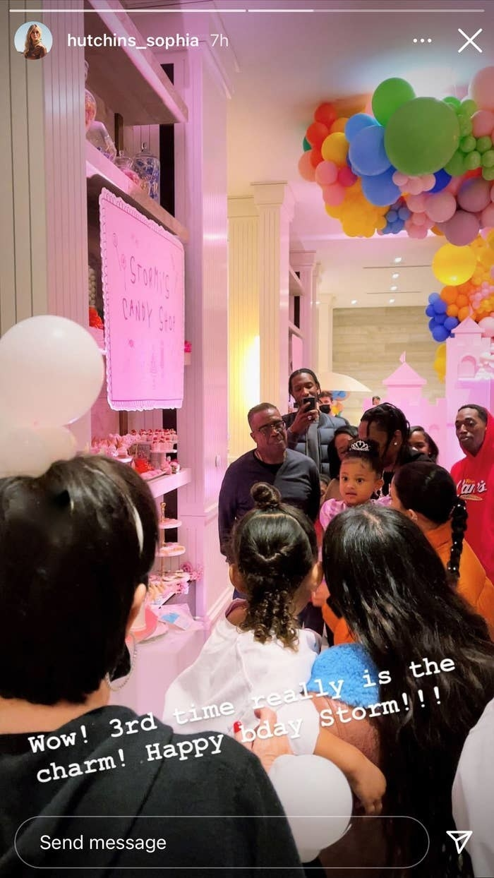 instagram story showing Stormi, Kylie, Travis, and their families