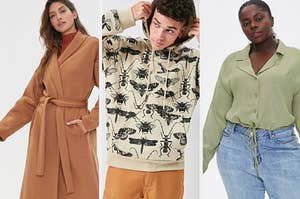 models wearing a camel coat, bug-printed hoodie, and green collared top