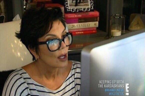 Kris Jenner looking shocked at her iMac