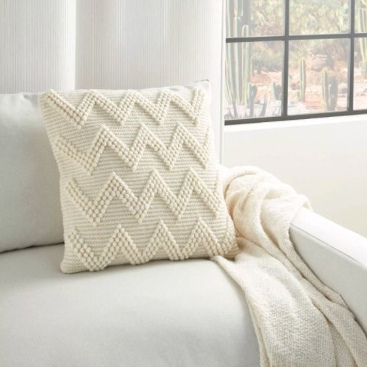 The chevron oversize square pillow in ivory