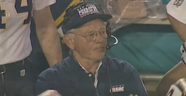 Chargers coach Bobby Ross watching game.