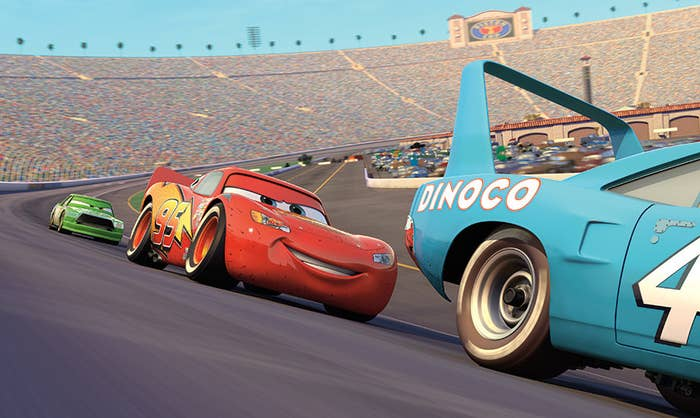 The Lightning Mcqueen car raises on a track