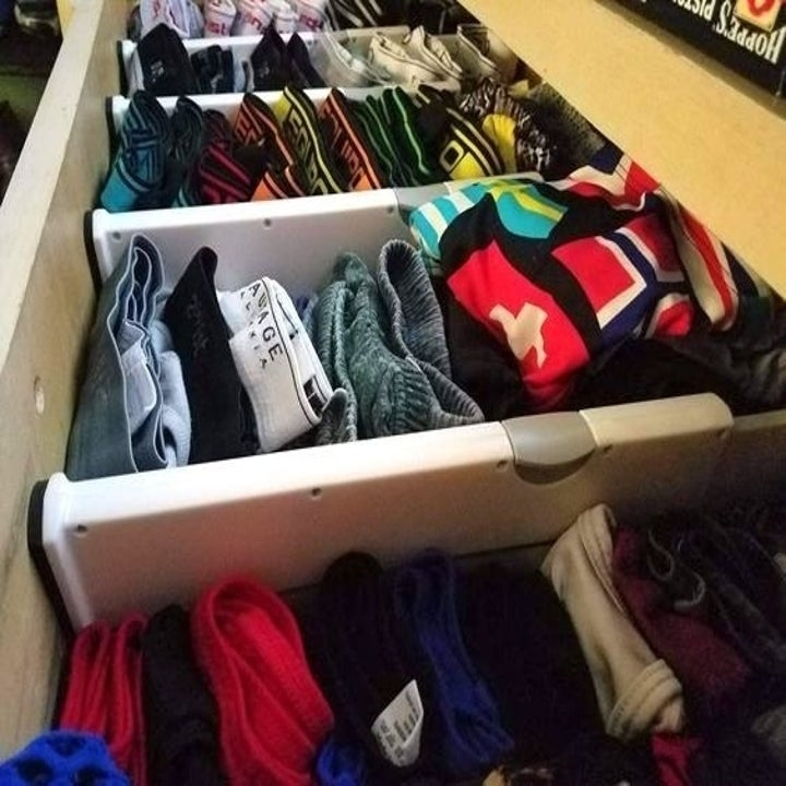 A reviewer's underwear drawer organized with the dividers