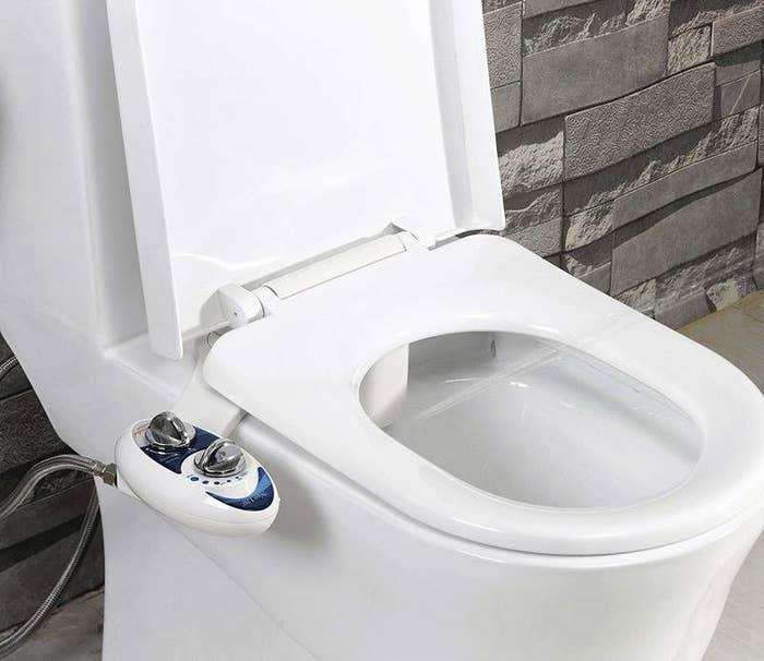 The bidet on a toilet