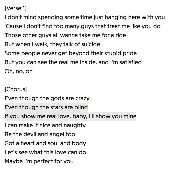 "The lyrics of the first verse and chorus of ""Stars are Blind"""