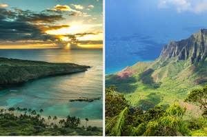 Two photos of the Hawaii coastline