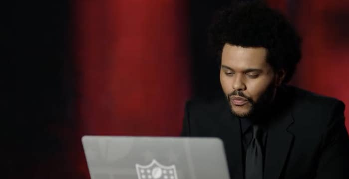 The Weeknd talking on the interview