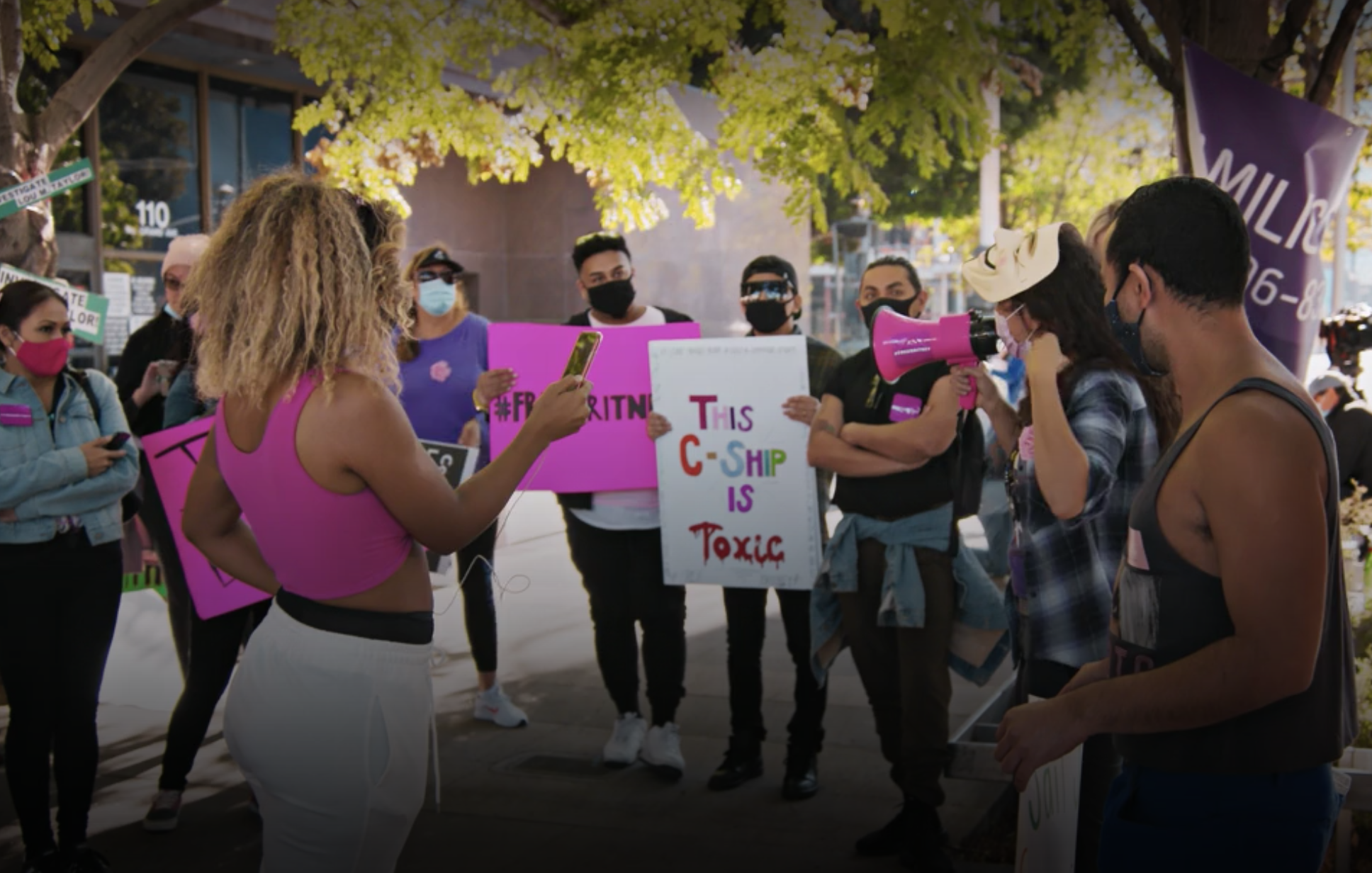 """Protestors at a """"Free Britney"""" event"""