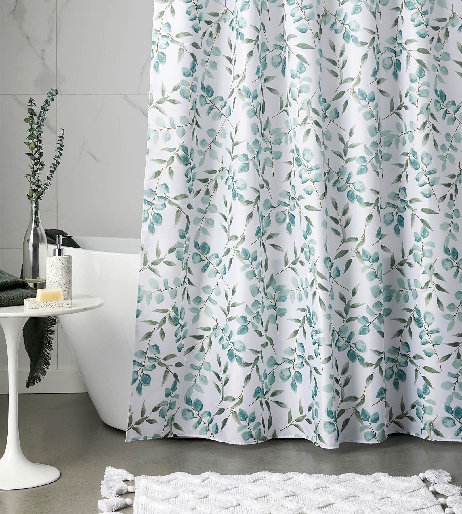 A cute patterned shower curtain