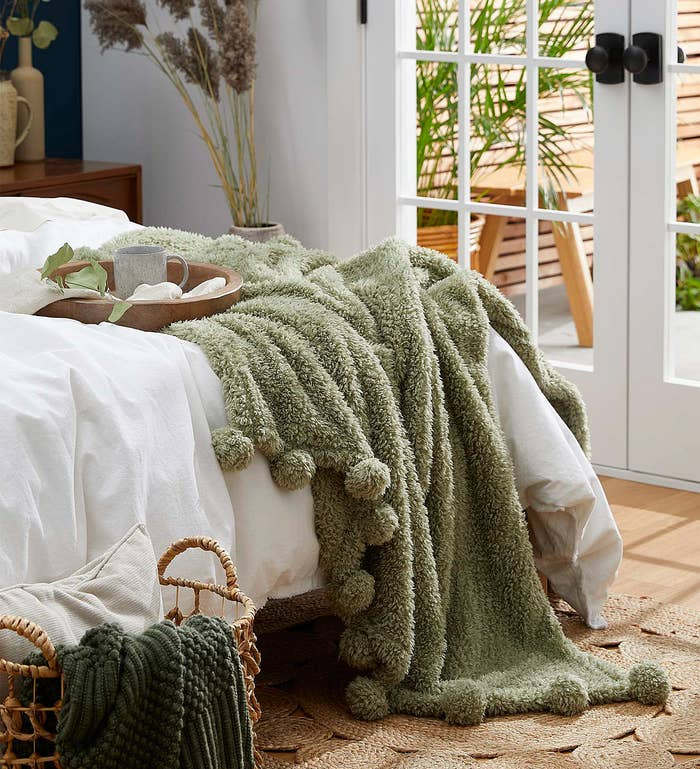 The throw blanket in a cute bedroom