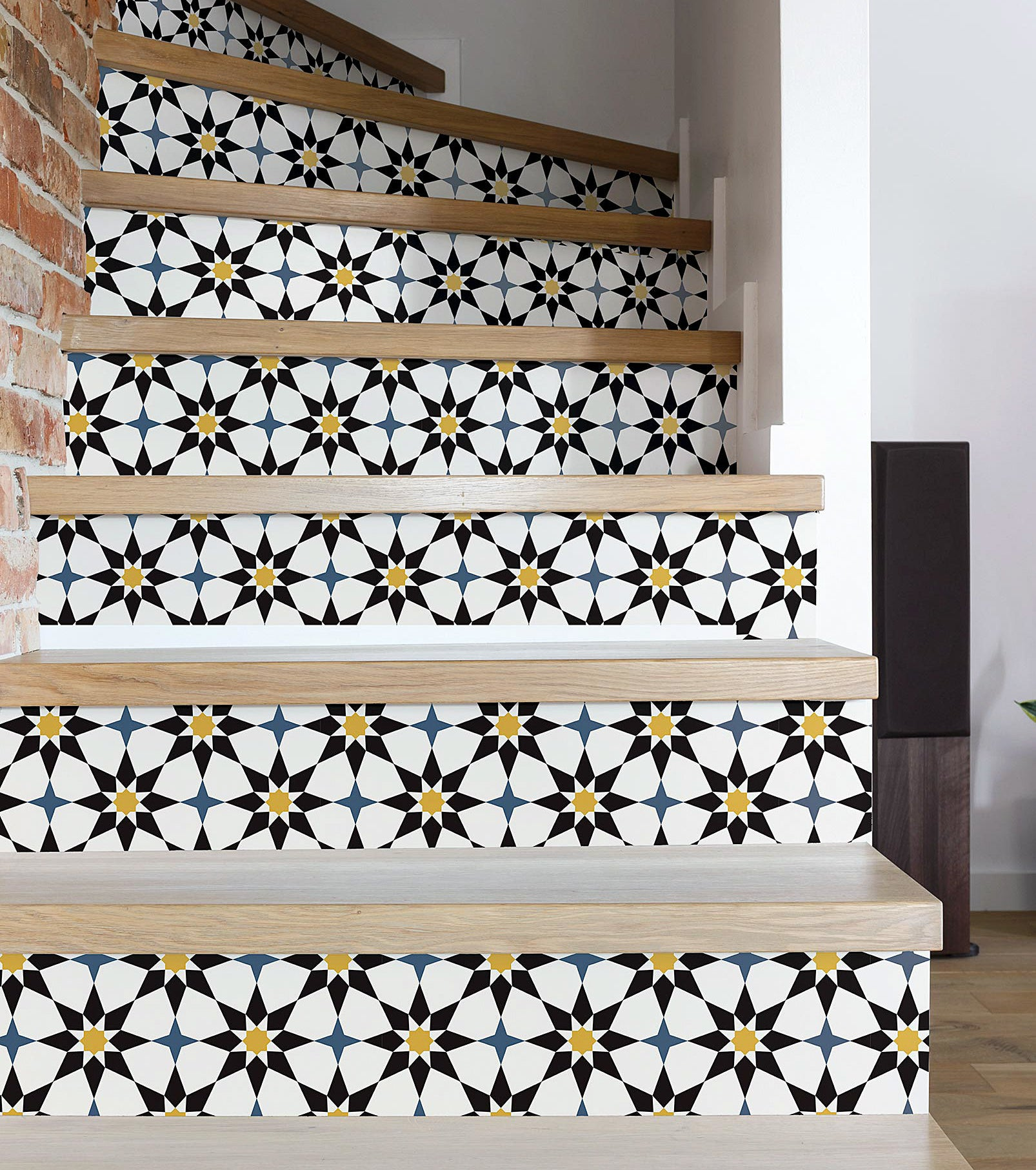 The self-adhesive wallpaper lining a staircase