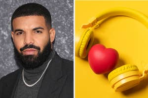 Drake is on the left posing in a portrait with a heart inside a pair of headphones on the right