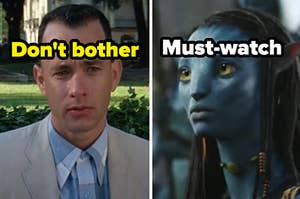 """Tom Hanks is on the left labeled, """"Don't bother"""" with Avatar on the right labeled, """"Must-watch"""""""