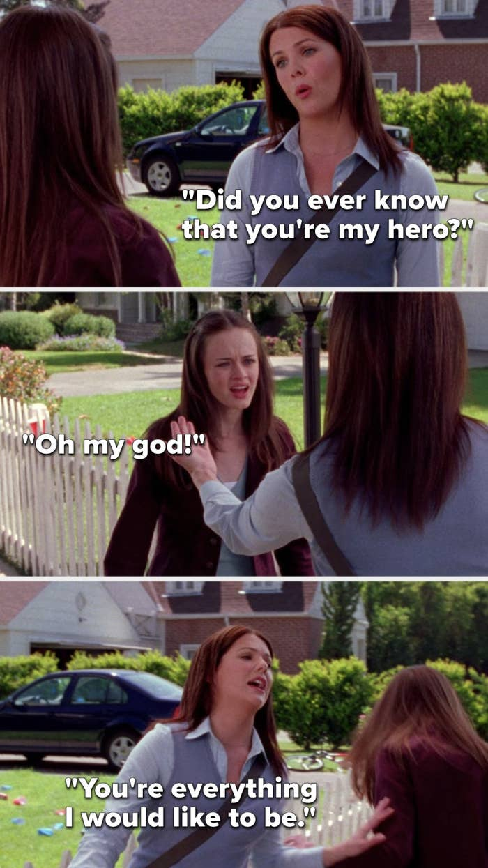 """Lorelai sings, """"Did you ever know that you're my hero,"""" Rory says, """"Oh my god,"""" and Lorelai sings, """"You're everything I would like to be"""""""