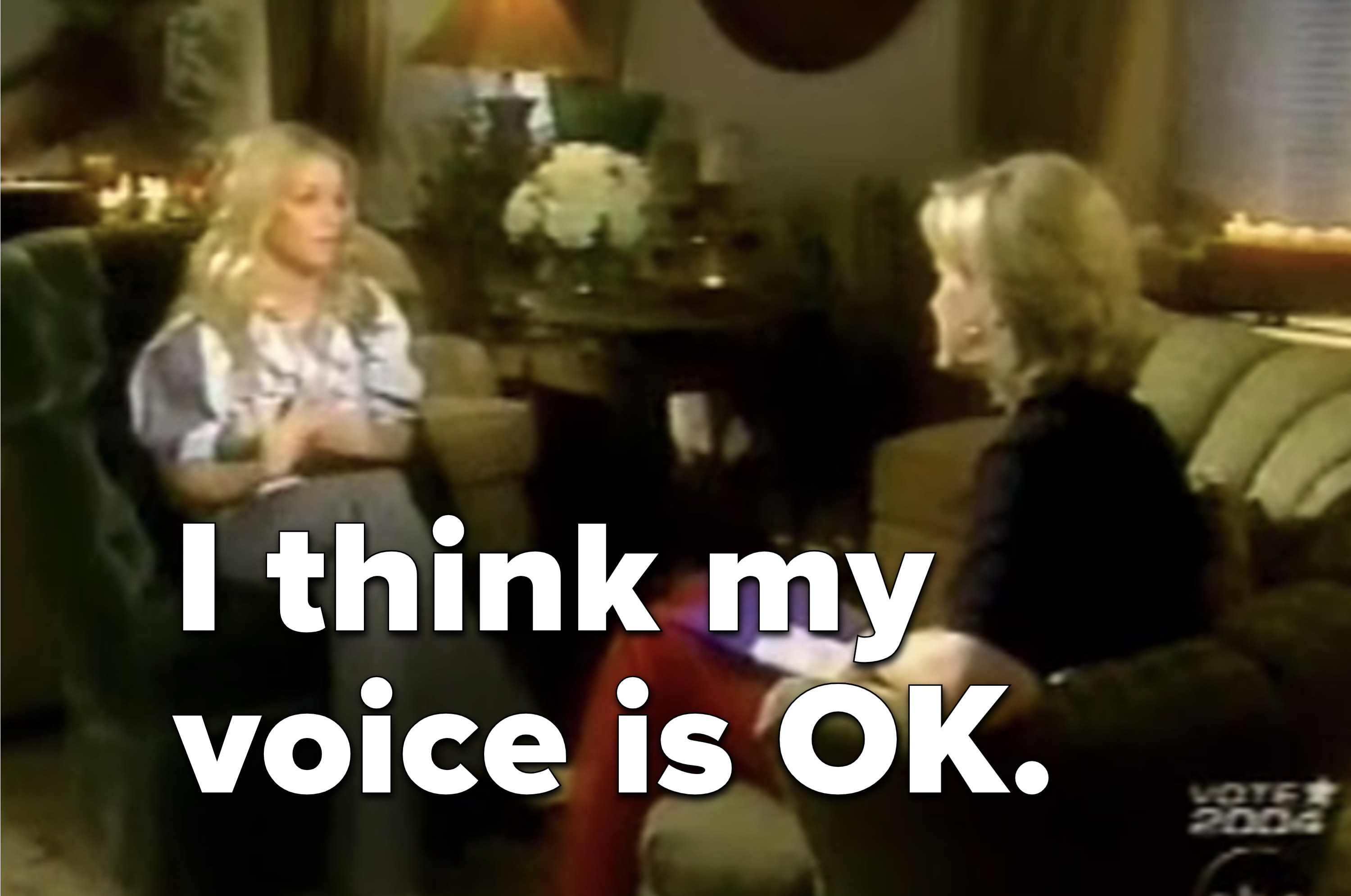 "Britney saying, ""I think my voice is OK"" in the interview"