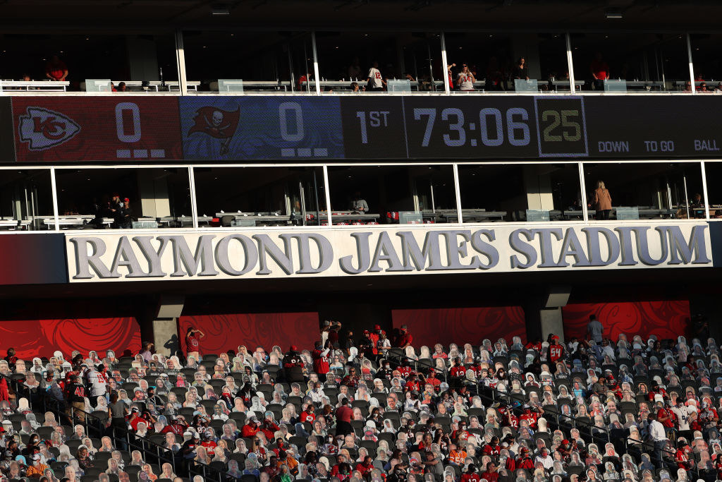 A closeup of the name Raymond James Stadium above a section of the arena filled with cutouts