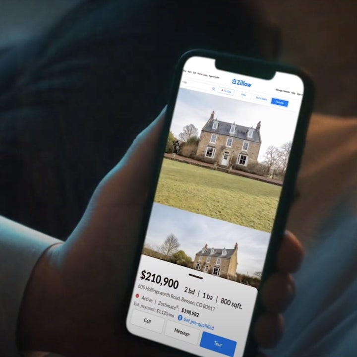 A phone screen shows the colonial listing on Zillow
