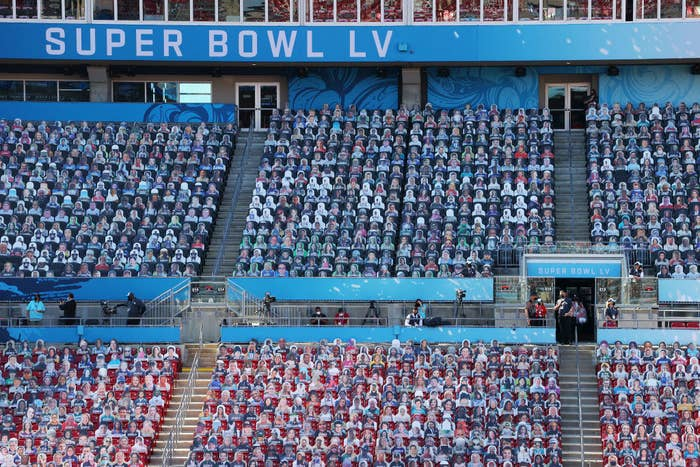 Every seat in the arena appears to be filled at the Super Bowl
