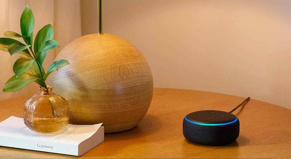 An Echo Dot on a table next to a lamp and a plant