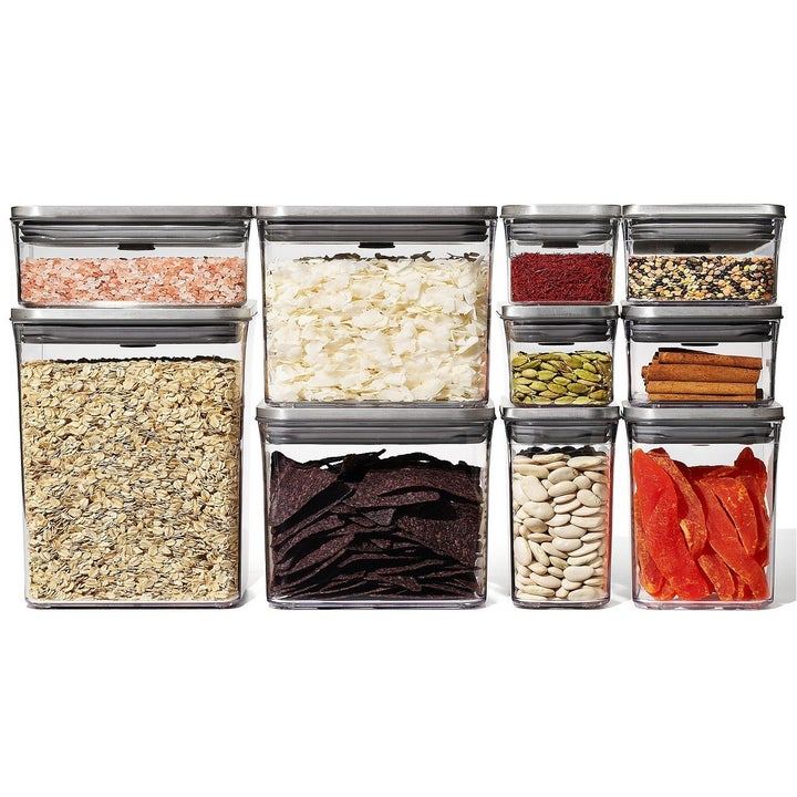 OXO Steel Pop 12-Pc. Food Storage Container Set with Scoop & Labels