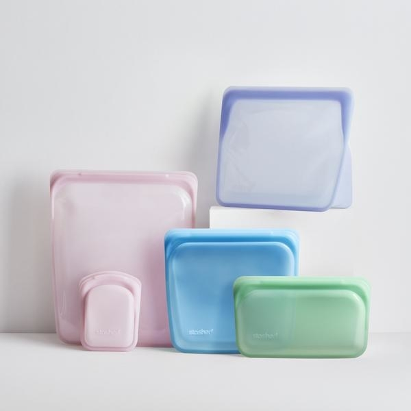 Five silicone food bags in different colors