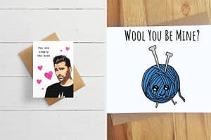 A card with David from Schitt's Creek; a card with a drawing of a ball of wool