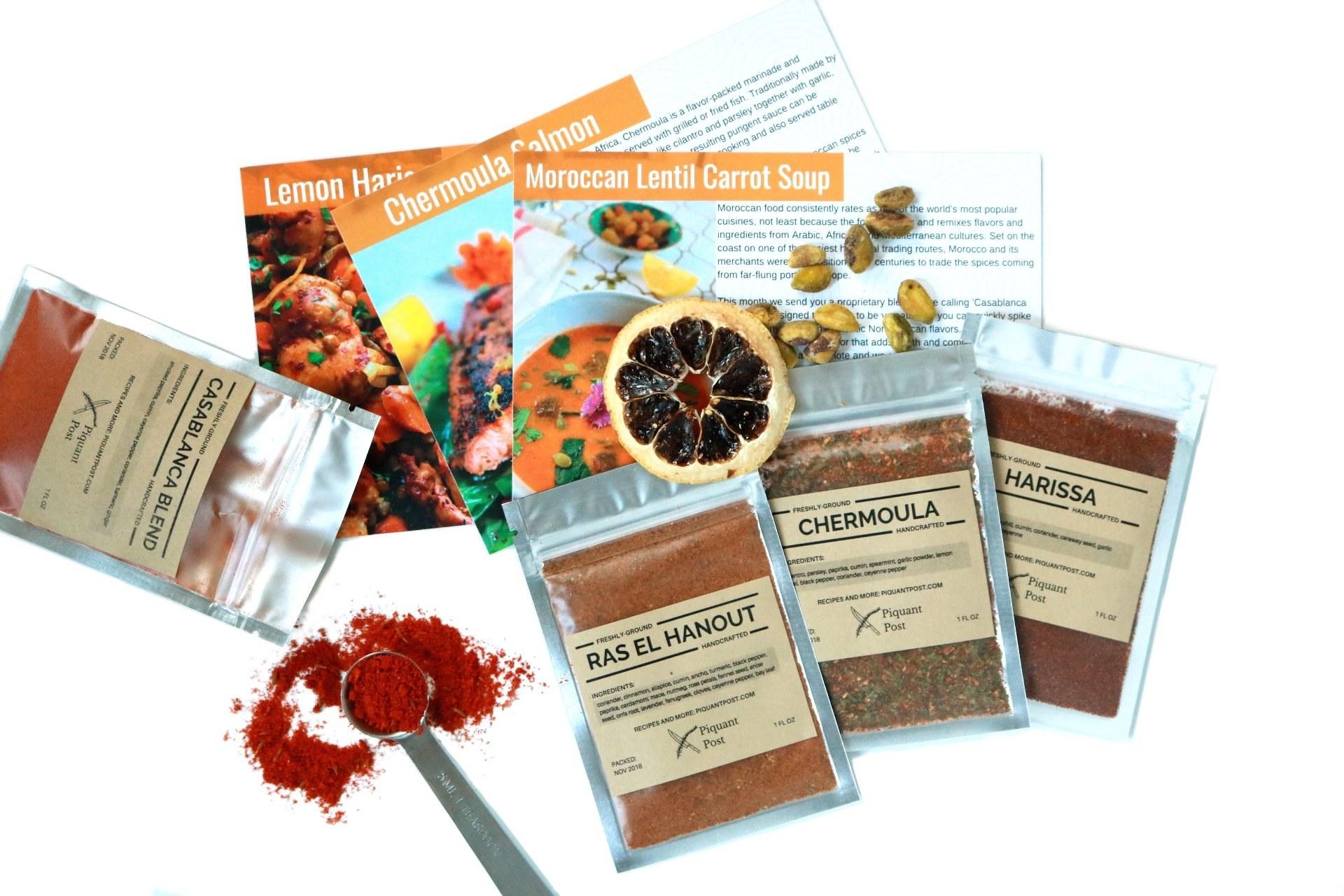 Casablanca blend, ras el hanout, chermoula, and harissa seasoning packets