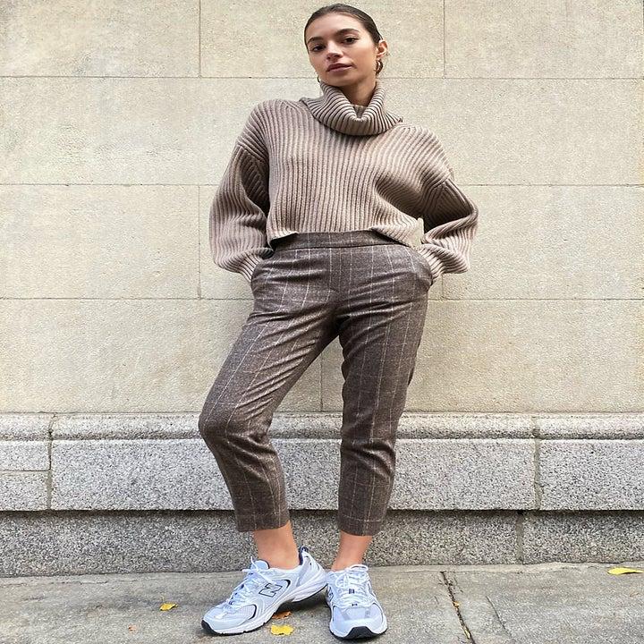 model wearing gingham pants