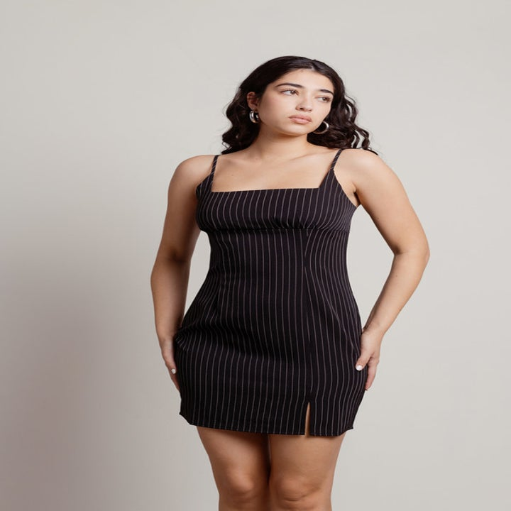 model wearing the mini pinstripe dress
